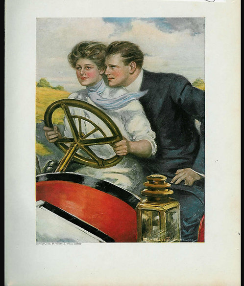 1910 Antique Car Print Lady Driving, Romance: Clarence Underwood