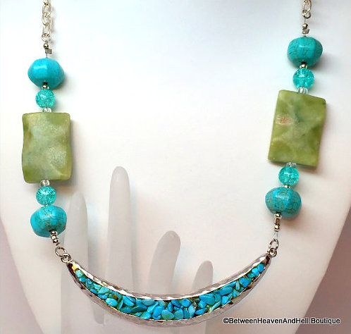 BOHO Chic Turquoise Half Moon Necklace Upcycled Boho Gemstone Jewelry