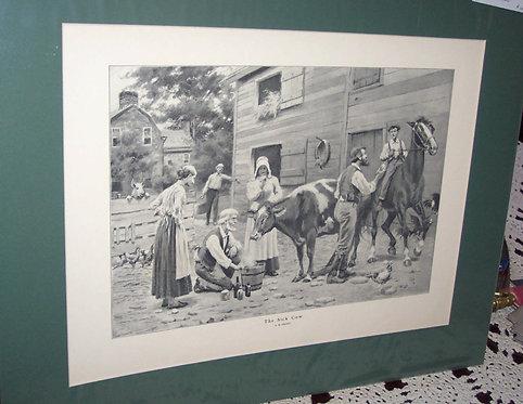 Ab Frost Antique Art Print The Sick Cow Country Farm Scene, Vintage art