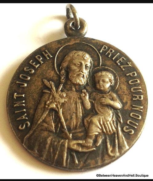 Rare Vintage French Holy Medal Saint Joseph & Jesus Pendant, Religious Jewelry