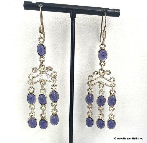 Long Dangle Amethyst Earrings Sterling Silver Jewelry, Gemstone Earrings