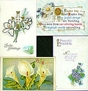 Antique Postcards Lot Easter Flowers Cross