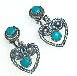 Victorian Sterling Silver Turquoise Earrings Screwback