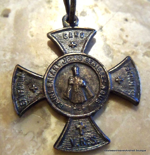 Antique French Infant Of Prague Maltese Cross Medal Jesus, Vintage Holy Medal
