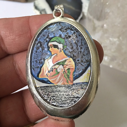 Large Wearable Art Cameo Pendant Boho Chic Blue Full Moon Jewelry Midnight Moonl
