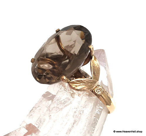 Large Vintage Smoky Quartz 14k Gold Ring Plus Size, Large Gemstone ring
