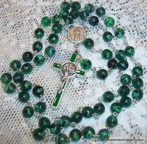"18"" St. Benedict Rosary Beads Enamel Crucifix Cross Green Cats Eye Benedictine"