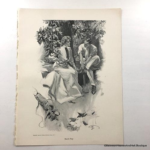 1905 Antique Victorian Golf Print Golfing Couple Harrison Fisher