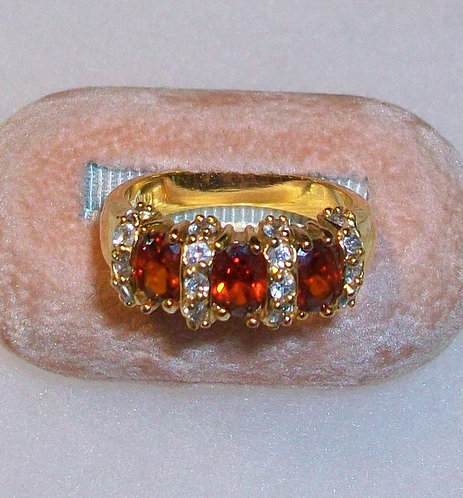 Vintage Garnet Ring Yellow Gold Plated Oval Stones Costume Jewelry