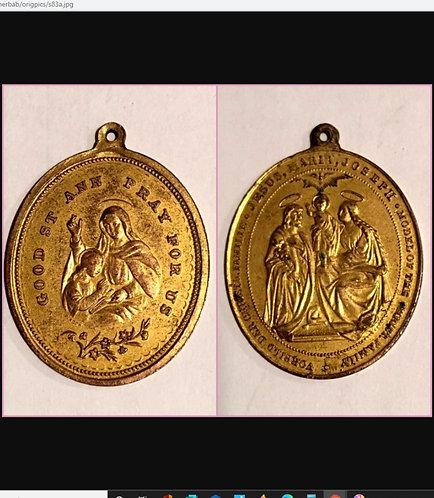 Signed Antique Holy Family Medal Saint Anne Joseph Virgin Mary Jesus
