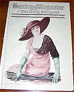 F Earl Christy Print Magazine Cover Lady Gloves And Rose Hat