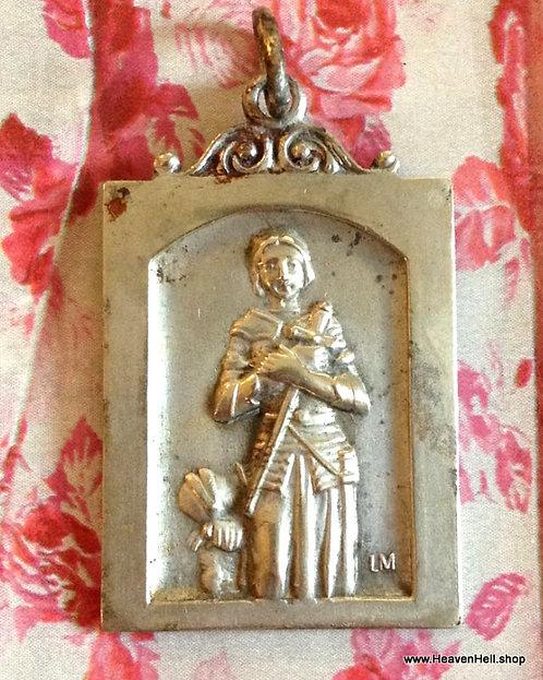 Vintage Signed Saint Joan Of Arc Holy Medal Catholic Religious Jewelry