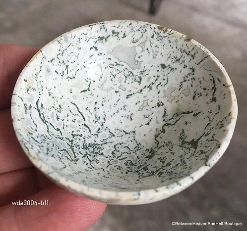 "2"" White Dendritic Tree Agate Gemstone Bowl Prosperity New Beginnings"