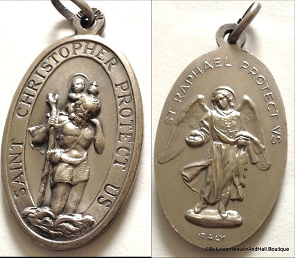 Religious Jewelry Large Pendant Archangel Raphael and Saint Christopher Medal