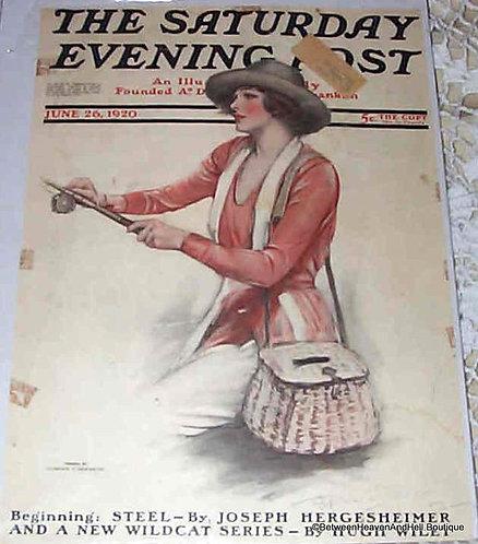 1920 Vintage Lady Fishing Saturday Evening Post Magazine Cover Art