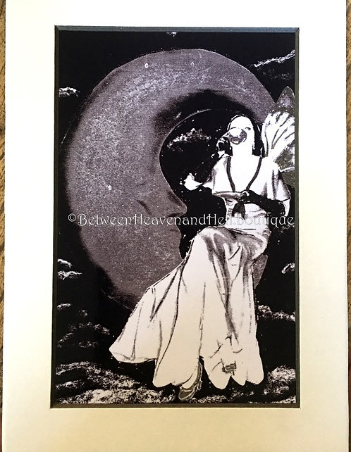 5x7 Between Heaven & Hell Moonlight Art Deco Fairy drinking Tea Giclee Print