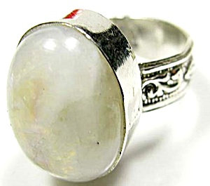 Large Oval Cabochon Moonstone Sterling Silver Ring 8.5