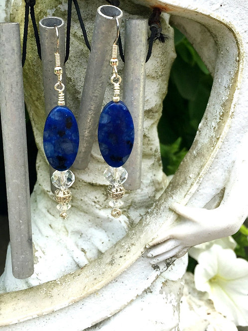 Elegant  Gemstone Drop Earrngs with Hand Knotted and Wire Wrapped Lapis Lazuli