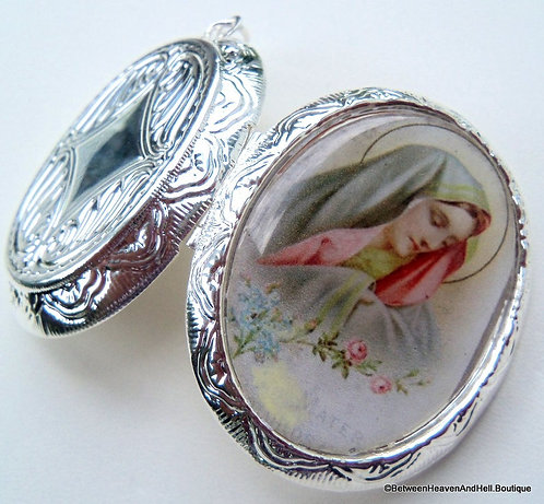 Our Lady Virgin Mary Cameo Locket Pendant Blessed Mother prayer Jewelry
