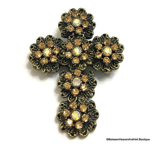 "2"" Large Rhinestone Flower Cross Pin Brooch Vintage Antique Gold"