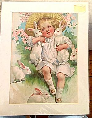 1906 Easter Morning Print Little Girl Bunny Rabbits Pink Flowers