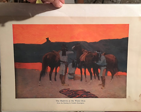 Vintage Print Frederic Remington Shadows At The Water Hole, Native American Art