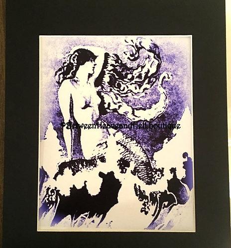 11x14 Altered Art Semi-nude Mermaid Giclee Print Black White Purple