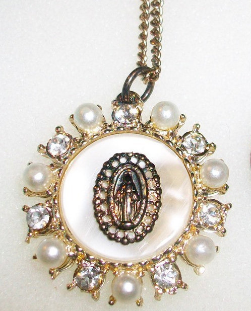 Vintage Rhinestone Mother Of Pearl Our Lady Of Grace Necklace Miraculous Medal