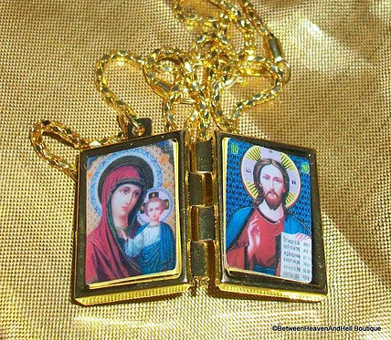 Locket Necklace Prayer Box Pendant Madonna and child Jesus Religious Jewelry