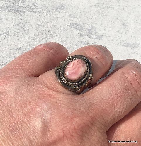 Vintage Pink Rhodochrosite Gemstone Ring Sterling Silver Jewelry