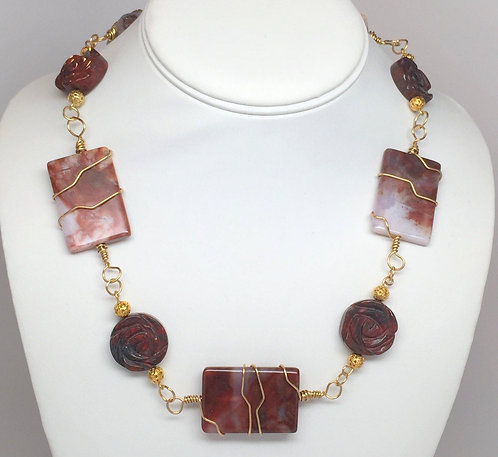 """Stunning Wire Wrapped Jasper and Carved Rose Mahogany Obsidian 22"""" Necklace"""
