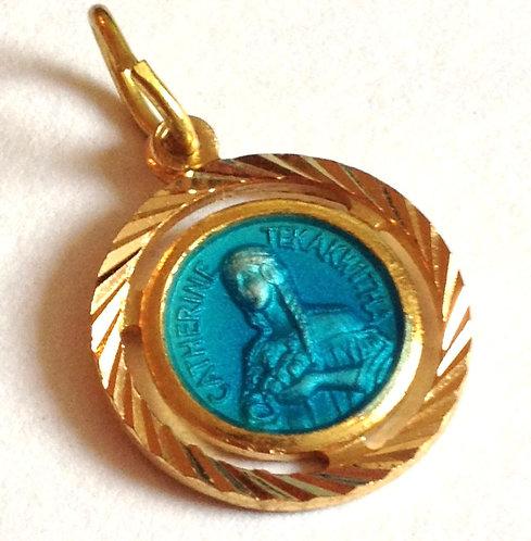 Saint Catherine St. Kateri Blue Enamel Holy Medal Religious Jewelry Charm