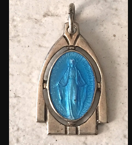 Guilloche Art Deco Miraculous Medal Virgin Mary Of Miracles Religious jewelry