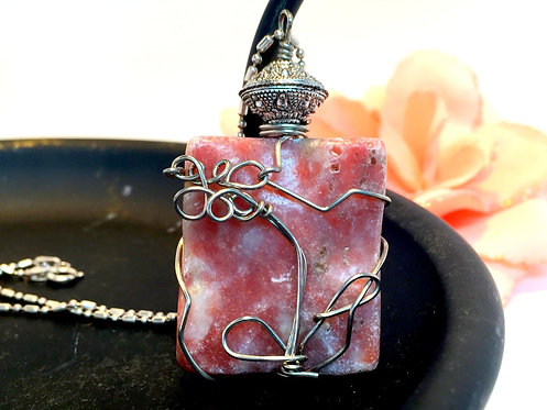 Wilted Flower Wired Wrapped Carved Jasper Gemstone Pendant