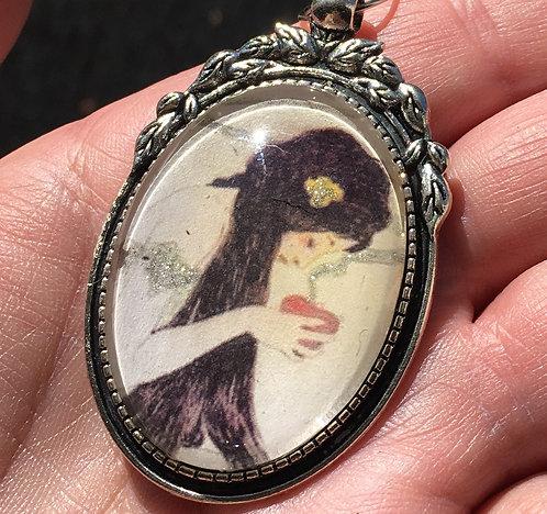 Handcrafted Wearable Art Cameo Pendant - Glitter, Art Nouveau, Fall Jewelry