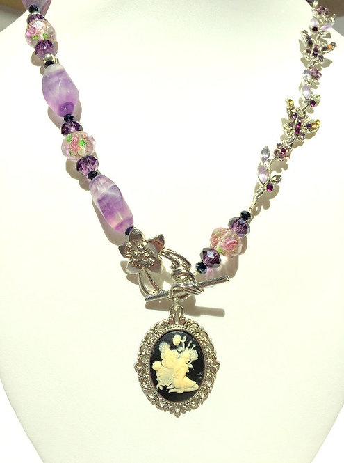 Handcrafted Fairy Cameo Upcycled Recycled Flourite Gemstone & Lampwork Necklace