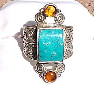 Large Sajen Turquoise Citrine Gemstone Ring Sterling Silver 10