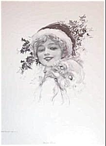 Vintage Prints Harrison Fisher Victorian Lady Santa Claus