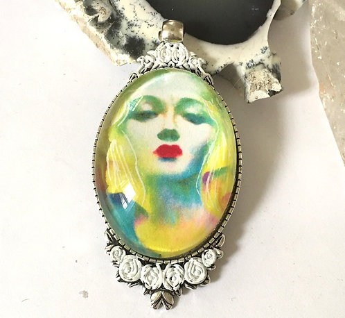 Large Art Cameo Pendant Sky Goddess Handcrafted Jewelry Wearable Art