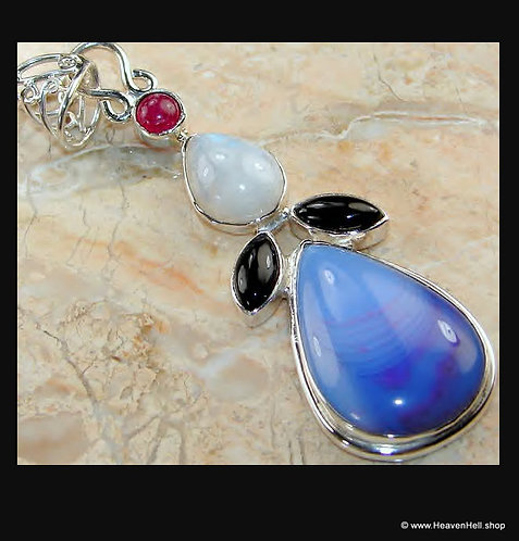 Long Blue Agate Onyx Moonstone Ruby  Sterling Gemstone Pendant Silver  Jewelry