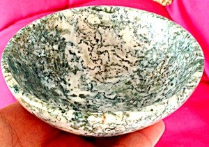 "4.1"" Gemstone Bowl White Dendritic Moss Agate, Tree Agate, Altar Bowls"