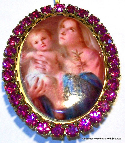 Handmade Up-cycled Madonna and Child Rhinestone Porcelain Cameo Locket