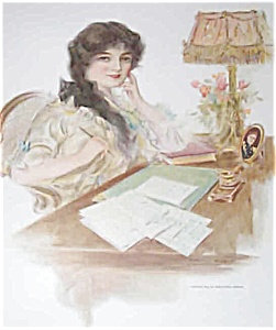 Wwi Print Victorian Lady Writing Letter To Military Soldier