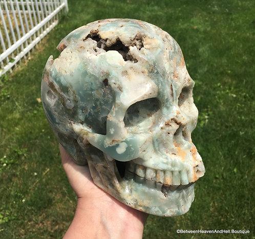 """Extra Large 7.2"""" Activated Druzy Aqua Amazonite Crystal Skull, Automatic Writing"""