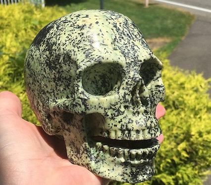 """5.2"""" Large Turquoise Singing Crystal Skull - Shamanic Energy, Astral Travel"""