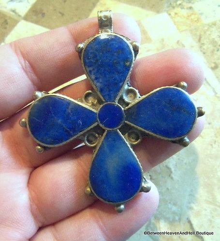 "2.5"" Large Vintage Silver Lapis Lazuli Maltese Cross, Gemstone Pendant"