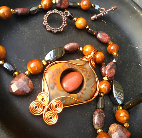Wire Wrapped Rhyolite Jasper & Goldstone Gemstone Necklace w/ Agate & Hematite