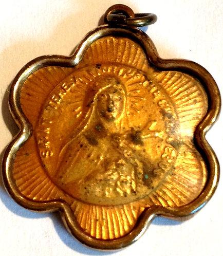 Antique Holy Medal Saint Theresa Of The Child Jesus 10k Bezel Catholic Pendant