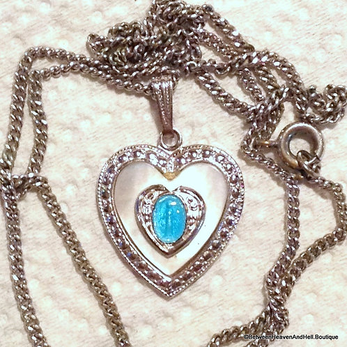 Vintage Mother Of Pearl Blue Enamel Heart Necklace Miraculous Medal