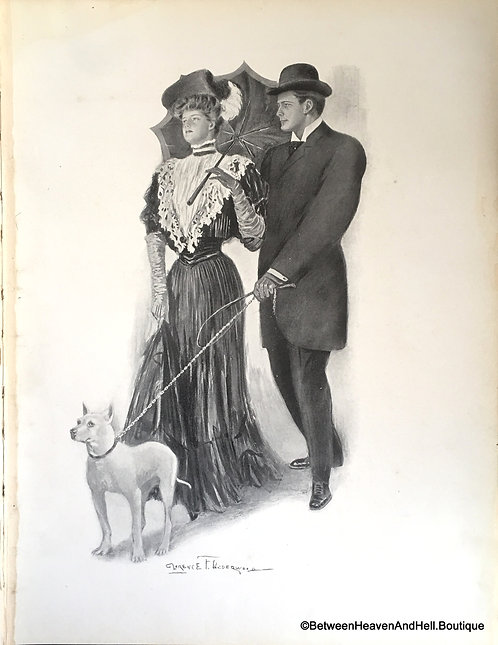 Vintage Dog Art Prints: Clarence Underwood Victorian Dog Walking Romance